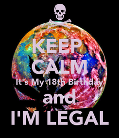 Poster: KEEP  CALM It's My 18th Birthday and I'M LEGAL