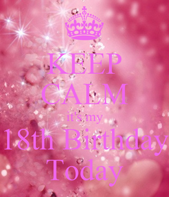 Poster: KEEP CALM it's my 18th Birthday Today