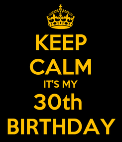 Poster: KEEP CALM IT'S MY 30th  BIRTHDAY