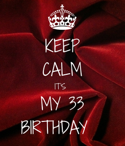 Poster: KEEP CALM IT'S  MY 33 BIRTHDAY💖💖