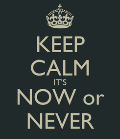 Poster: KEEP CALM IT'S NOW or NEVER