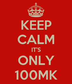 Poster: KEEP CALM IT'S ONLY 100MK