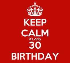 Poster: KEEP CALM it's only 30 BIRTHDAY