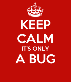 Poster: KEEP CALM IT'S ONLY A BUG