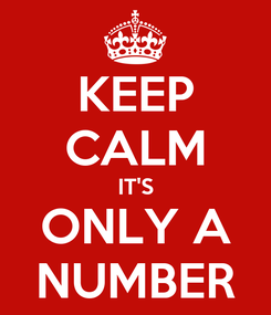 Poster: KEEP CALM IT'S ONLY A NUMBER