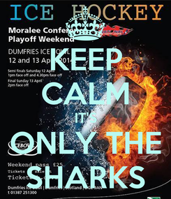 Poster: KEEP CALM IT'S ONLY THE SHARKS