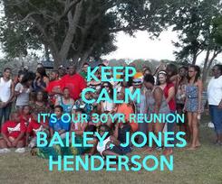 Poster: KEEP CALM IT'S OUR 30YR REUNION BAILEY, JONES HENDERSON