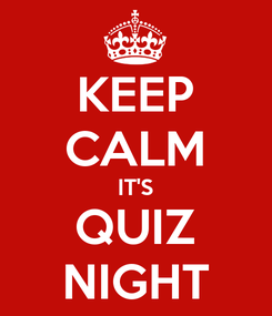 Poster: KEEP CALM IT'S QUIZ NIGHT
