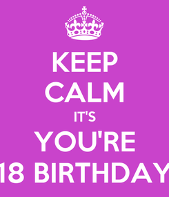 Poster: KEEP CALM IT'S YOU'RE 18 BIRTHDAY