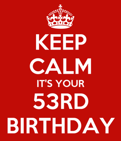 Poster: KEEP CALM IT'S YOUR 53RD BIRTHDAY
