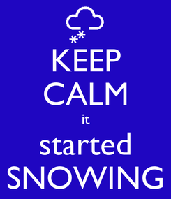 Poster: KEEP CALM it started SNOWING