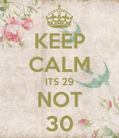 Poster: KEEP CALM ITS 29 NOT 30