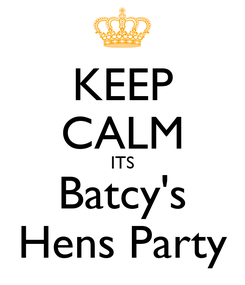 Poster: KEEP CALM ITS Batcy's Hens Party