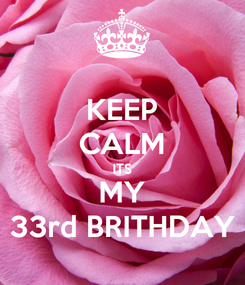 Poster: KEEP CALM ITS MY 33rd BRITHDAY