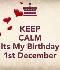 Poster: KEEP CALM  Its My Birthday 1st December