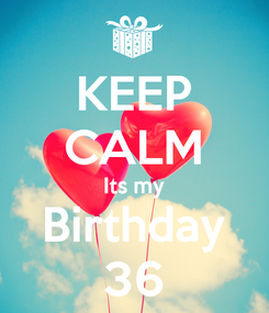 Poster: KEEP CALM Its my Birthday 36