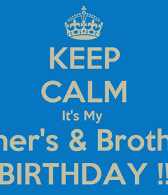 Poster: KEEP CALM It's My  Mother's & Brother's  BIRTHDAY !!