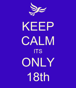 Poster: KEEP CALM ITS ONLY 18th