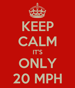 Poster: KEEP CALM IT'S ONLY 20 MPH