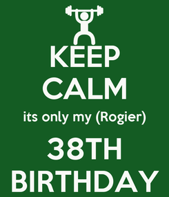 Poster: KEEP CALM its only my (Rogier) 38TH BIRTHDAY