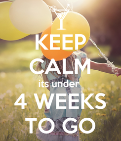 Poster: KEEP CALM its under  4 WEEKS TO GO
