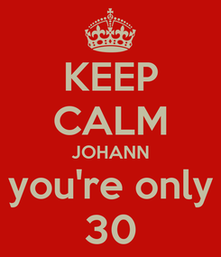 Poster: KEEP CALM JOHANN you're only 30