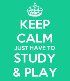 Poster: KEEP CALM JUST HAVE TO STUDY & PLAY