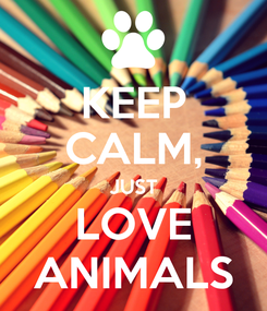 Poster: KEEP CALM, JUST LOVE ANIMALS