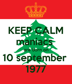 Poster: KEEP CALM maniacs  are born on 10 september  1977