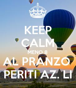 Poster: KEEP CALM MENO 8 AL PRANZO  PERITI AZ. LI