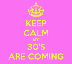 Poster: KEEP CALM MY 30'S ARE COMING