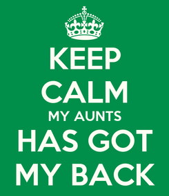 Poster: KEEP CALM MY AUNTS HAS GOT MY BACK