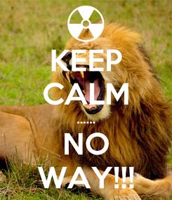 Poster: KEEP CALM ...... NO WAY!!!