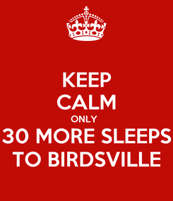 Poster: KEEP CALM ONLY   30 MORE SLEEPS TO BIRDSVILLE