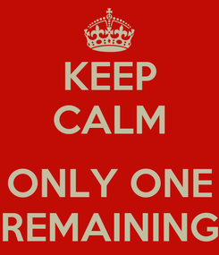 Poster: KEEP CALM  ONLY ONE REMAINING