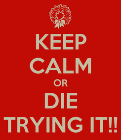 Poster: KEEP CALM OR DIE TRYING IT!!