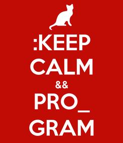 Poster: :KEEP CALM && PRO_ GRAM