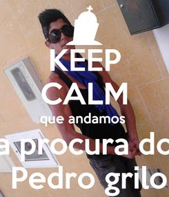 Poster: KEEP CALM que andamos  a procura do  Pedro grilo