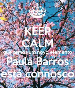 Poster: KEEP CALM que temos um novo elemento Paula Barros está connosco