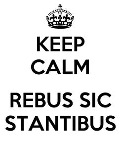 Poster: KEEP CALM  REBUS SIC STANTIBUS