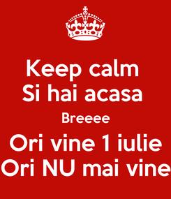 Poster: Keep calm  Si hai acasa  Breeee Ori vine 1 iulie Ori NU mai vine