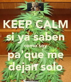 Poster: KEEP CALM si ya saben como soy pa'que me dejan solo