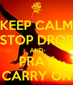 Poster: KEEP CALM STOP DROP AND PRAY CARRY ON