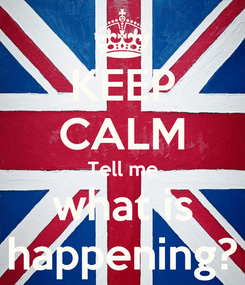 Poster: KEEP CALM Tell me what is happening?