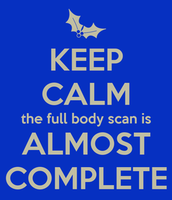 Poster: KEEP CALM the full body scan is ALMOST COMPLETE