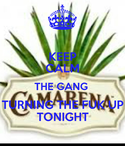 Poster: KEEP CALM THE GANG  TURNING THE FUK UP TONIGHT