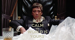 Poster: KEEP CALM the  WORLD IS YOURS