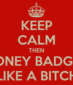 Poster: KEEP CALM THEN HONEY BADGER LIKE A BITCH