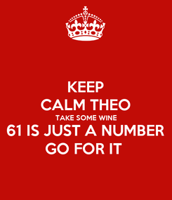 Poster: KEEP CALM THEO TAKE SOME WINE 61 IS JUST A NUMBER GO FOR IT