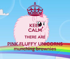 Poster: KEEP CALM THERE ARE PINK FLUFFY UNICORNS munching brownies